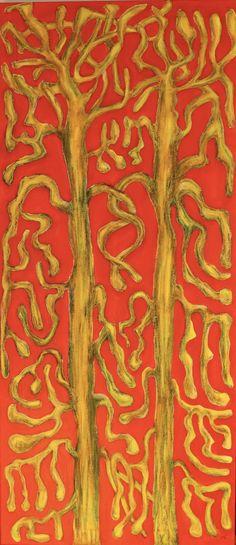 Naked Tree Couple/Maarit Korhonen, acrylic, oil sticks, oil pastel, canvas, 116cm x 50cm Dark Paintings, Original Paintings, Online Painting, Artwork Online, Dancer In The Dark, Autumn Painting, Original Art For Sale, Artists Like, House Painting