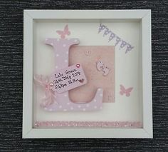 PERSONALISED BOX PICTURE FRAME -NEW BABY CHRISTENING KEEPSAKE GIFT