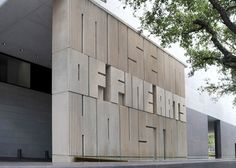 Museum of Fine Arts Houston — Giant, concrete, ultra bold letters make up the sign for this institution, adding to the notion that things are bigger in Texas | Unknown photographer