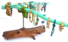 Jewelry Holder, Cool Gifts for Her, Driftwood  Jewelry Stand, Jewellry Holder, Turquoise Jewelry Display, Retail Display, Bracelets Holder by DivineDriftwood on Etsy