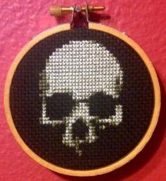 """Skull On Black Threezle"" Cross Stitch pattern for immediate download. ""Threezle"" - a small cross stitchdesigned by Pete Seazle,framed in a3-INCH HOOP. Stit"