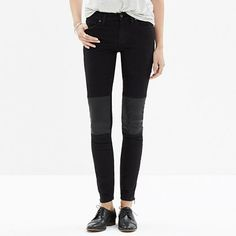 Risk Free Jeans from Madewell with soft leather panels  for a lean, sexy fit- for a bit of biker cool.