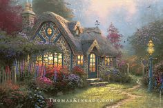 """Candlelight Cottage"" combined two of Thomas Kinkade's favorite things to paint - cottages and light. He wanted collectors to feel the warmth of this cozy evening scene, and he hoped they could imagine themselves nestled inside it, enjoying the beautiful glow of the candles."