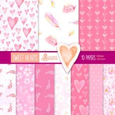SWEET HEARTS: 10 Pink watercolors Digital Papers. Feathers, handpainted, patterns, romantic pink flowers, paper crafts, scrapbooking.