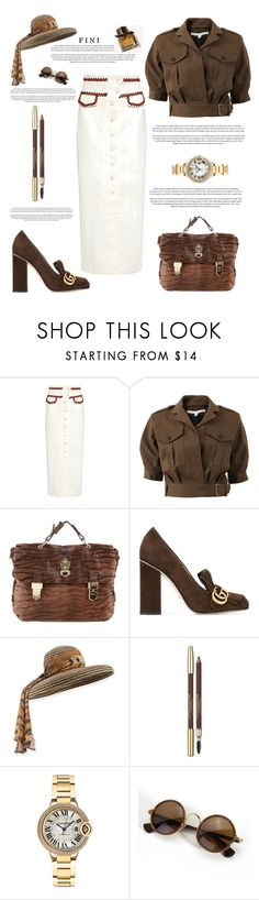 """""""George Adamson - An Inspiration"""" by fini-i ❤ liked on Polyvore featuring Ganni, Veronica Beard, Mulberry, Gucci, Kokin, Lancôme, Cartier and Burberry"""