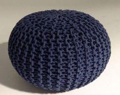 Handmade Knitted Pouf   Navy Blue   50x35cm   Hand Knit Pouf Ottoman Footstool