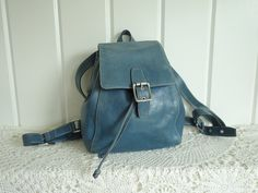 Vintage Coach Legacy West Distressed Slouchy  Ash Cornflower Blue Leather Bucket Crossbody Bag Backpack by TwoRosesVintage on Etsy
