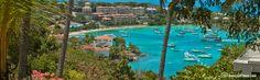 Panorama - The view from St John B&B, Estate Lindholm, Cruz Bay, St John, US Virgin Islands.