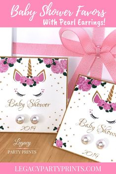 Unicorn Baby Shower Favors With White Pearl Earrings Shower Party, Baby Shower Parties, Unique Party Favors, Unicorn Baby Shower, Bridal Shower Favors, Birthday Party Favors, Baby Shower Decorations, Shower Invitations, Pink And Gold