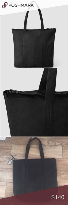 NWT all saints leather tote Brand new never used. All leather. Matte finish. Zipper top. 16x19. Roomy and comfortable to carry All Saints Bags Totes