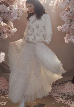 Discover our new bridal collection, 'Fallen For You', featuring tiered ruffle wedding gowns, embellished wedding dresses and soft ombre ballerina length skirts. Sequin Cape, Sequin Gown, Needle And Thread Bridal, Bridal Gowns, Wedding Gowns, Wedding Outfits, Traditional Gowns, Tulle Bows, I Love Makeup