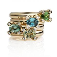 18 karaat gouden ringen van Bron met toermalijn, peridot, blauwe Zircoon.