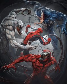 Venom, Carnage and Anti-Venom vs. Spiderman Venom, Marvel Venom, Spiderman Art, Venom Comics, Marvel Comics Art, Marvel Heroes, Superhero Poster, Superhero Villains, Symbiotes Marvel