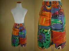 1990's Printed Shorts  Long Loud 90's Shorts by LittleGhostVintage