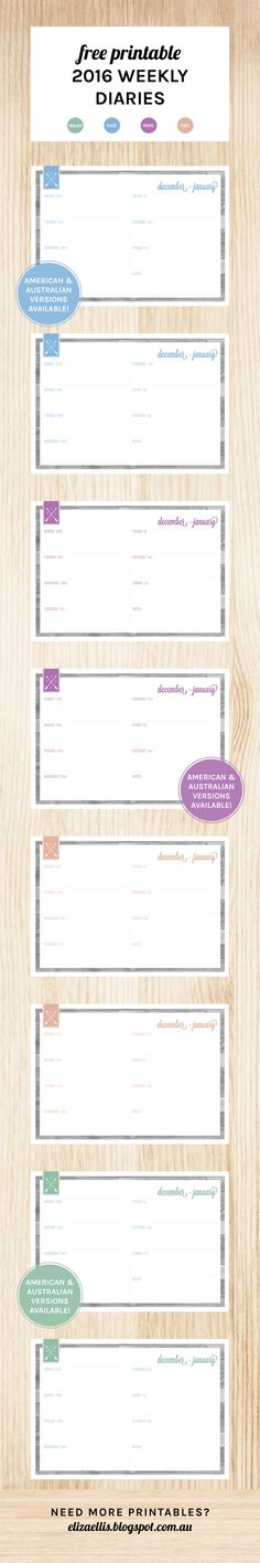 Free Printable 2016 Weekly Diaries by Eliza Ellis. Week to a page diary in American and Australian/UK versions in four colors: hemlock green, radiant orchid, placid blue and peach.