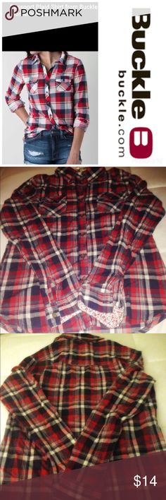 ✨Passport by Buckle plaid shirt I have a like brand new Passport plaid shirt purchased at the Buckle. It's 100% Colton. Pair this with cut offs and a wedge or your fav cowboy boot or jeans with tennies or flip flops... so versatile. All my items come from a clean, smoke free home. No trades, No lowballs please. Just had it dry cleaned tag is still attached. Passport Tops Button Down Shirts
