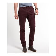 Commodity Slim Contrast Pocket Chinos (110 AUD) via Polyvore featuring mens, men's clothing, men's pants, men's casual pants and red grape