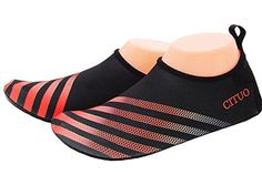 TOOSBUY Barefoot Aqua Skin Fitness Beach Swim Yoga Scuba Running Diving Boarding Skiing Water Shoes Red XL >>> Continue to the product at the image link. Yoga Shoes, Water Shoes, Program Design, Camp Shoes, Barefoot, Diving, Image Link, Aqua, Stripes