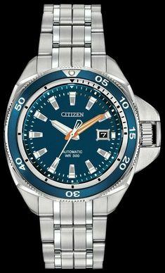 e61886144eb Citizen Signature NB1031-53L Blue Dial Automatic Stainless Grand Touring  Watch Citizen Titanium Watch
