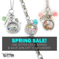 """Save 20% Off Your Order of floating lockets, charms, dangles and more with Offer Code """"SPRING"""" now - April 30th, 2016! #SpilledGlitter"""