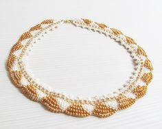 Beige rhinestone crocheted collar necklace gold glass seed beads.