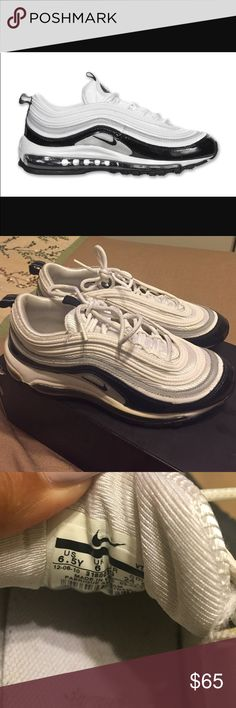 Nike Air Max 97 black/white/grey Nike Air Max 97 black/white - gently used but still in good condition. This is a size 6.5Y in boys which is about a 8-8 1/2 in women. Depends on your foot. Price is reasonably negotiable. Nike Shoes Sneakers