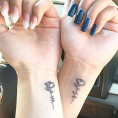 62 Unique Tattoos You'll Want to Get With Your Best Friend - Page 56 of Tattoo, best friend tattoos, friendship tattoos, couple tattoos, matching tattoos. Wrist Tattoos Girls, Cute Tattoos On Wrist, Small Bff Tattoos, Rose Wrist Tattoos, Flower Tattoos, Best Tattoos For Women, Tattoo Women, Subtle Tattoos, Unique Tattoos