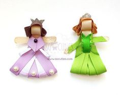 Princess and the frog sculpture ribbon hair clip baby by soCuties