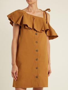 Ruffle-trimmed one-shoulder gabardine dress | Sea | MATCHESFASHION.COM