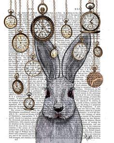 Rabbit Time White Rabbit Alice in Wonderland Print by FabFunky, $15.00: