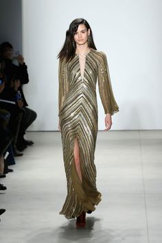 Gold embellished Jenny Packham gown: http://www.stylemepretty.com/2016/02/18/new-york-fashion-week-dresses-fall-2016/: