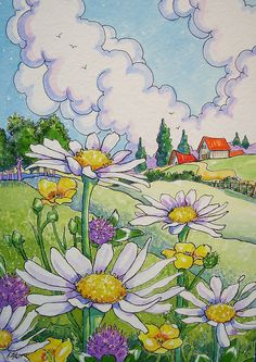 Blue Skies and Wildflowers | www.dailypaintworks.com/fineart… | Flickr Sky Painting, Watercolor Paintings, Doodle Drawings, Easy Drawings, Flower Garden Drawing, Cottage Art, Grunge, Easy Watercolor, Anime Scenery
