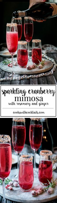 Cranberry Ginger Sparkling Holiday Cocktail - a sparkling holiday cocktail created with the seasons quintessential flavors of cranberry, rosemary and ginger and made to sparkle with Lunetta Prosecco.