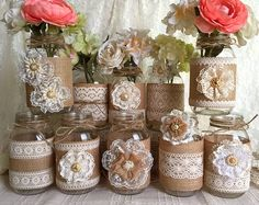 10x natural color lace and burlap covered mason jar vases, wedding, bridal shower, baby shower decoration