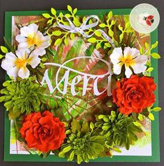 Susan Tierney-Cockburn created this gorgeous card with the help of her Susan's Garden Club Garden Notes: Grapevine Wreath Round; Peony; Chrysanthemum; Cosmos. Susan finishes the card off with Suzanne Cannon, A Way With Words' Merci. Susan also used our Soft Finish Cardstock in true Green. Visit Susan's YouTube playlist for flower tutorials: https://www.youtube.com/playlist?list=PLCP2iiaN5icAagDS5tBwmkcxr4Lnzq4AQ