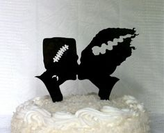 Frankenstein and Bride Silhouette Wedding Cake Topper Monster Halloween Cake Topper Monster Cake Topper Frankenstein Wedding Cake Topper I would use this all the time!
