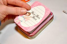 Homemade Boo Boo Box from an Altoids Tin. I Put Pretend Felt Band-Aids for Stuffed Animals In This. -from Pretty Things By Keren Dukes - add stuffed animal, baby blanket, and pretend baby bottle. Now you have a cute gift for child.