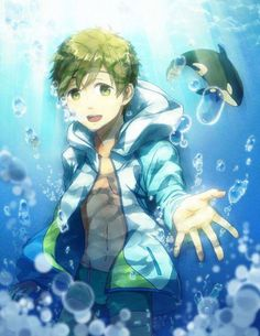 Makoto as kid  orca in background <3 - Free! Swimming Anime