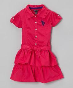 This U.S. Polo Assn. Raspberry Ruffle Sash Shirt Dress - Girls by U.S. Polo Assn. is perfect! #zulilyfinds