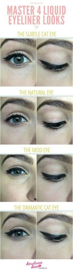 20 Liquid Eyeliner Hacks, Tips and Tricks For The Perfect Cat-Eye (And Eyeliner Hacks, How To Apply Eyeliner, Eyeliner Styles, Eyeliner Ideas, Eyeliner Tutorial, Beauty Make-up, Beauty Hacks, Hair Beauty, Asian Beauty
