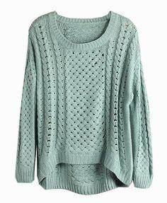 536128d045 Mint Cutout Knit Hi-Low Sweater  jumper  winter  highlow  comfy Green