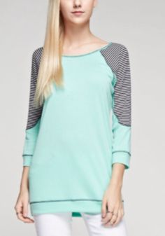 Ribbed Stripe Contrast Top