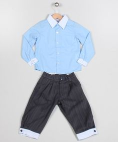 Take a look at this Blue & Gray Button-Up & Pants - Toddler & Boys by Puffy Pie on #zulily today!