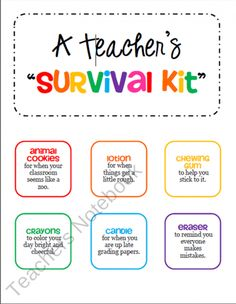 @Janelle Averill  Teacher Survival Kit Tags - Gift for a New Teacher or Student Teacher from cokerfamily6 on TeachersNotebook.com (2 pages)  - Collect items and attach these colorful tags before placing in a bag, basket, or box. This makes a great gift for a new teacher or a student teacher.