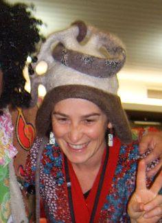 Anita Larkin in her helmet made of felt.