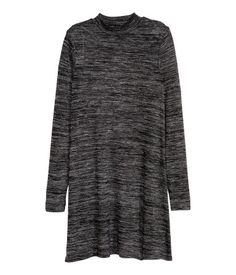Dark gray. Short, fine-knit dress in soft mélange fabric with a mock turtleneck and long sleeves. Unlined. $9.99