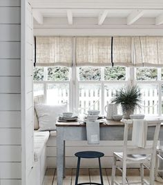 For your dining area, constructing a built-in seat around a window area will take up less space as you can get the table right into the corner of the room. To create a rustic country look furnish with soft linen seat cushions and simple Scandi-style roll-up blinds. (Photo credit: Sainsbury's). Find more inspiration at housebeautiful.co.uk