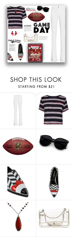 """""""Game Day   60 Second Style"""" by fassionista ❤ liked on Polyvore featuring Frame Denim, Boutique Moschino, Nicholas Kirkwood, Tiffany & Co., INC International Concepts, Chanel, gameday and 60secondstyle"""