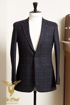2-knoops colbert wol/kasjmier navy ruit bruine overcheck. 2-button sports jacket wool/cashmere navy blue check brown overcheck