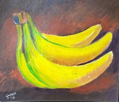 """Giovanna Scotti painted """" Bananas. Look how wonderfully her background colors blend as well as her  gradation on the bananas."""